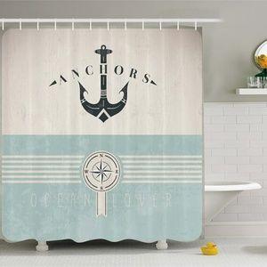 Shower Curtain Vintage Marine Anchor Compass Print